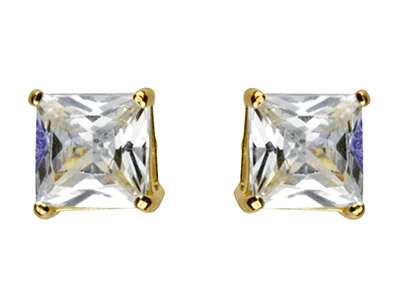 9ct Yellow Gold 4mm Square         Cubic Zirconia Basket Studs