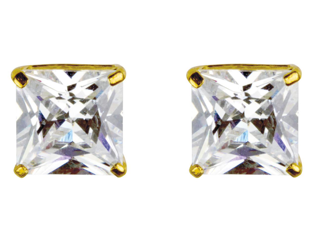 9ct Yellow 8mm Square Studs