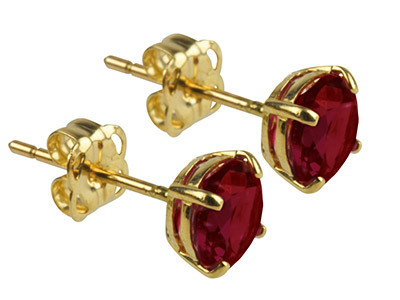 9ct Yellow Gold Birthstone Earrings 5mm Round Garnet - January