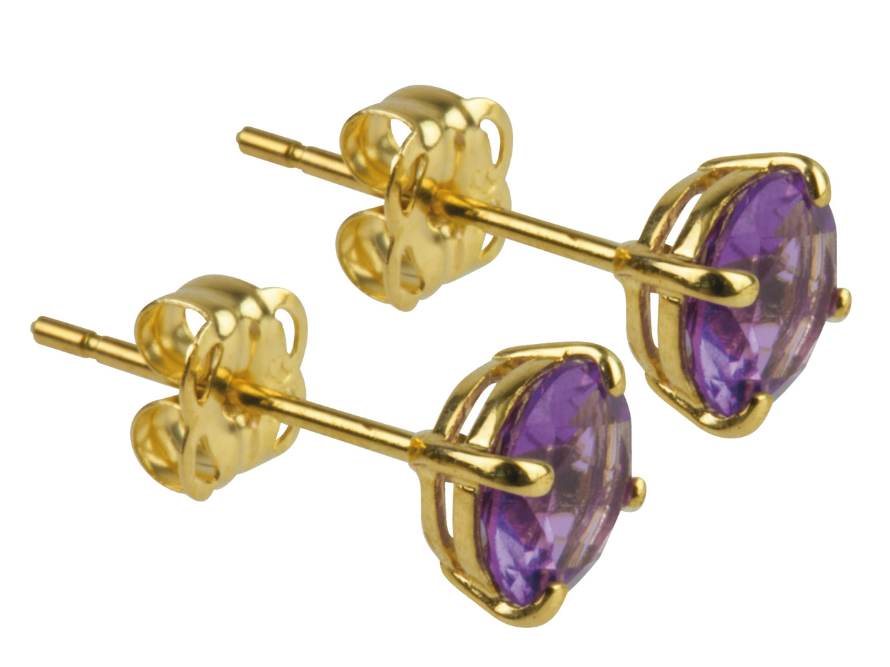 9ct Yellow Birthstone Earrings 5mm Round Amethyst - February