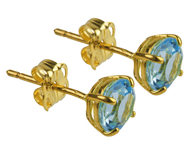 9ct Yellow Gold Birthstone Earrings 5mm Round Blue Topaz - March