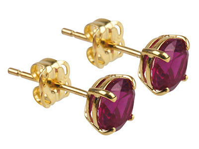 9ct Yellow Gold Birthstone Earrings 5mm Round Created Ruby - July