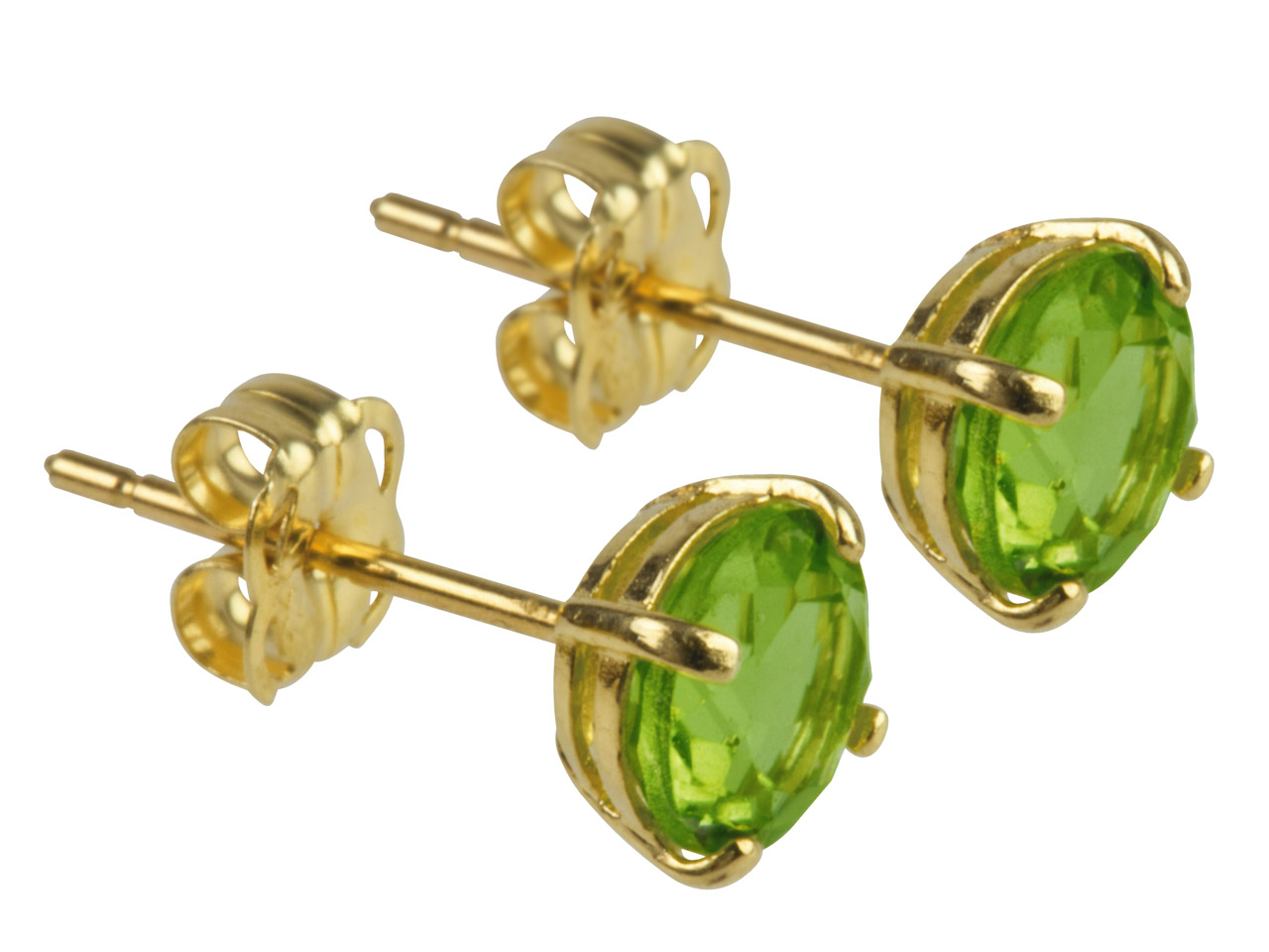 9ct Yellow Birthstone Earrings 5mm Round Peridot - August