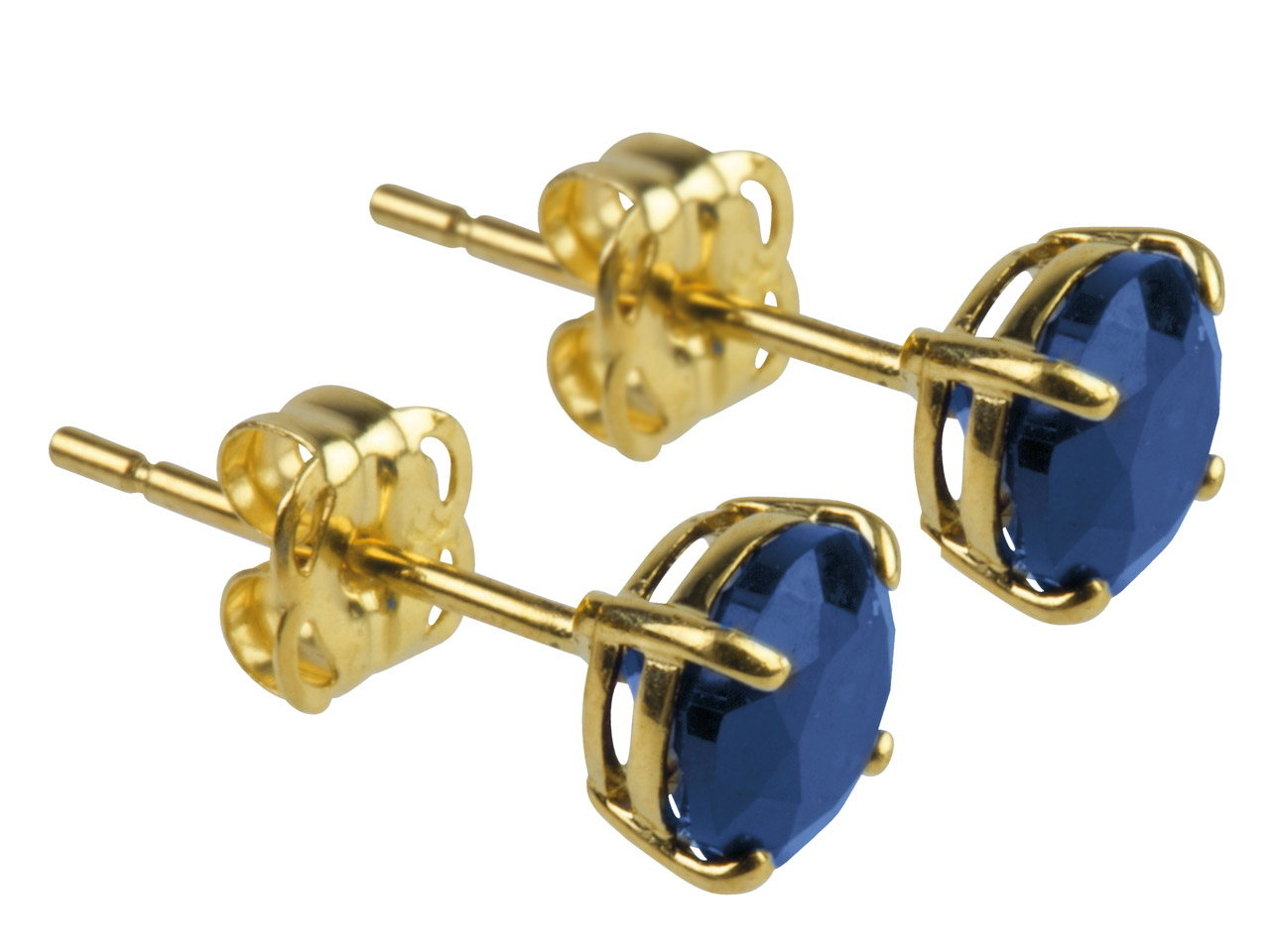 9ct Yellow Birthstone Earrings 5mm Round Created Sapphire - September