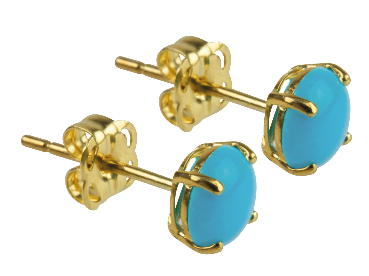 9ct Yellow Gold Birthstone Earrings 5mm Round Stabilised Turquoise      Cabochon - December