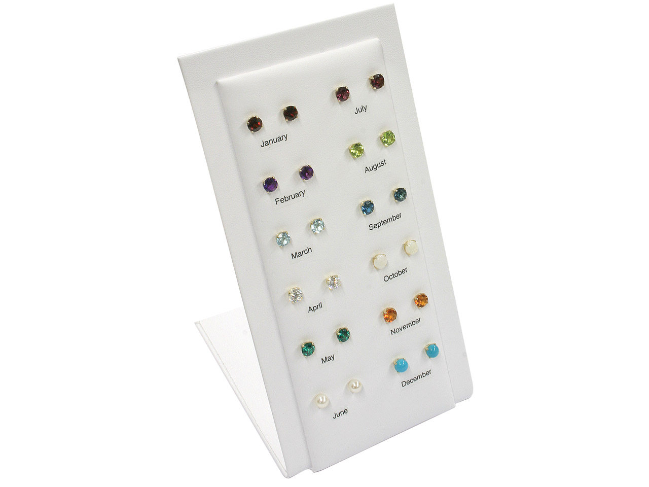 9ct Yellow Birthstone Studs, With  Point Of Sale Unit