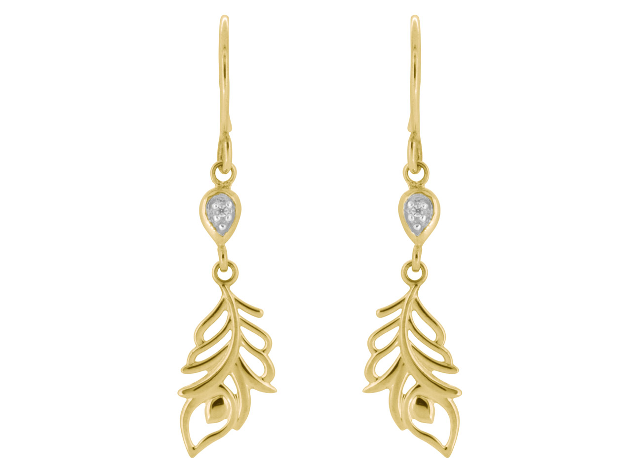 9ct Yellow Feather Drop Earrings   Set With 2 1mm Cz's