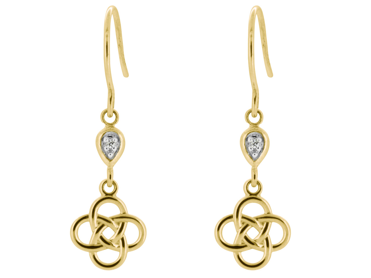 9ct Yellow Celtic Knot Earrings Set With 2 1mm Cz's