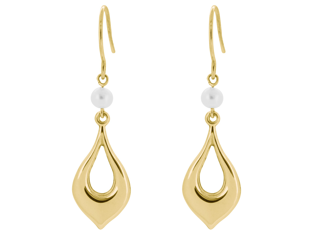 9ct Yellow Pearl Drop Earrings Set With 4mm Pearls