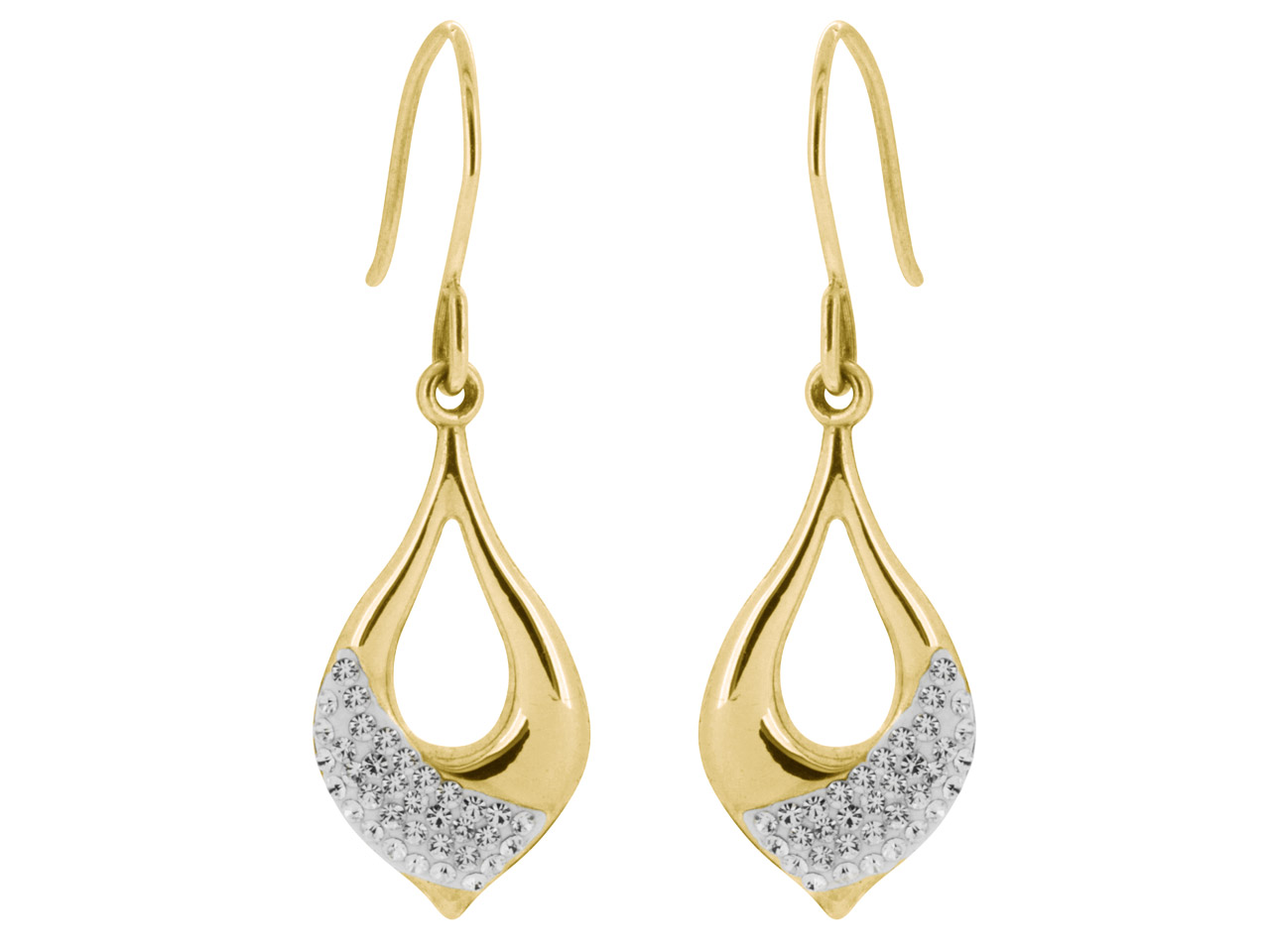 9ct Yellow Crystal Drop Earrings    Embossed With 70 White 1mm Crystals