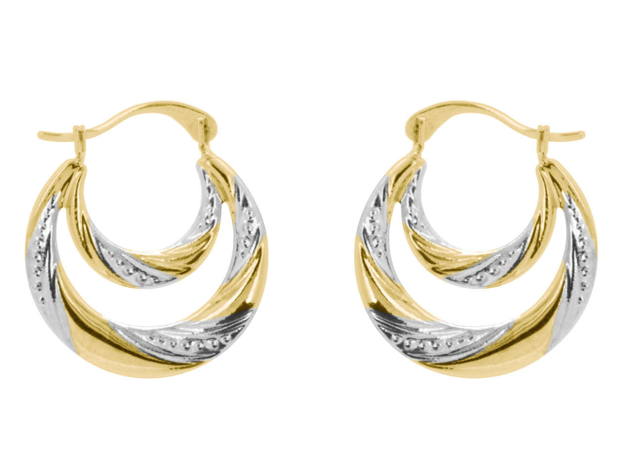 9ct Yellow Double Creole Earrings