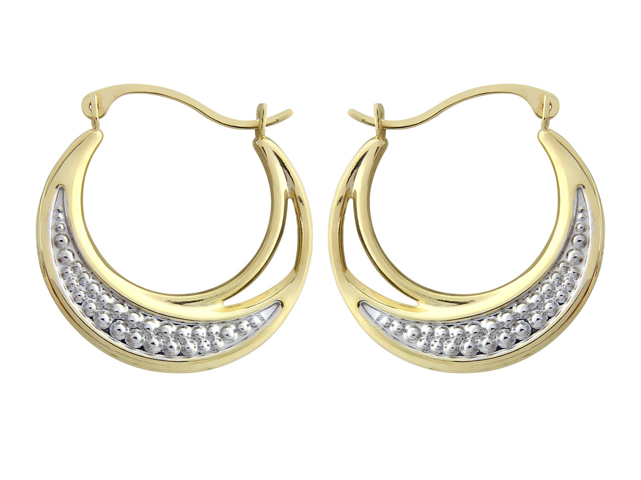9ct Yellow Creole Earrings With    White Rhodium Plated Design