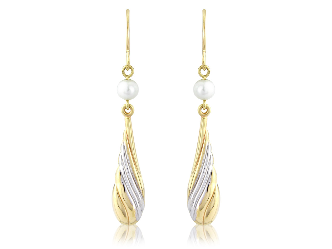 9ct Yellow Dropper Design Earrings Rhodium Plated Design