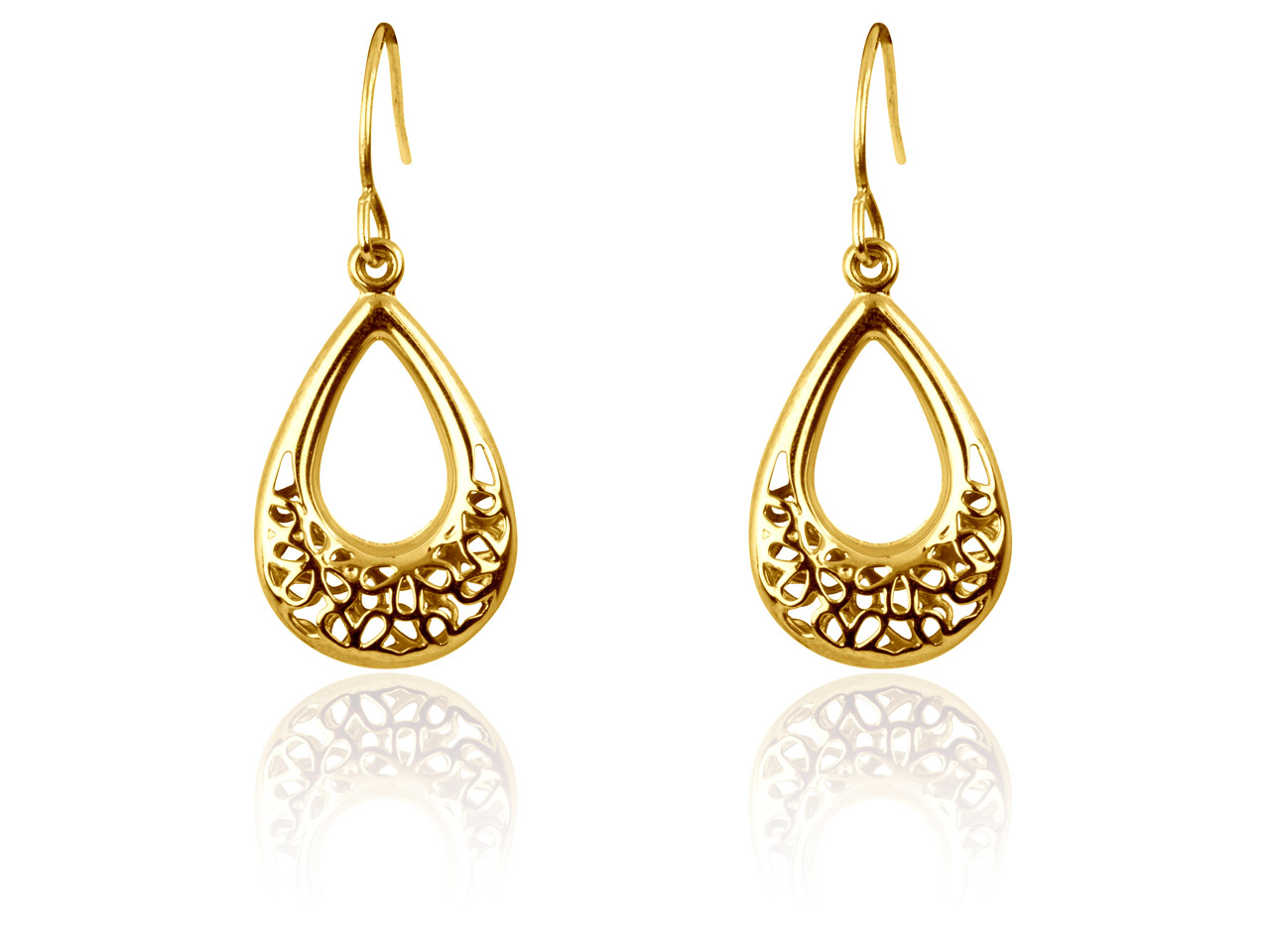 9ct Yellow Filigree Style Double   Sided Dropper Earrings