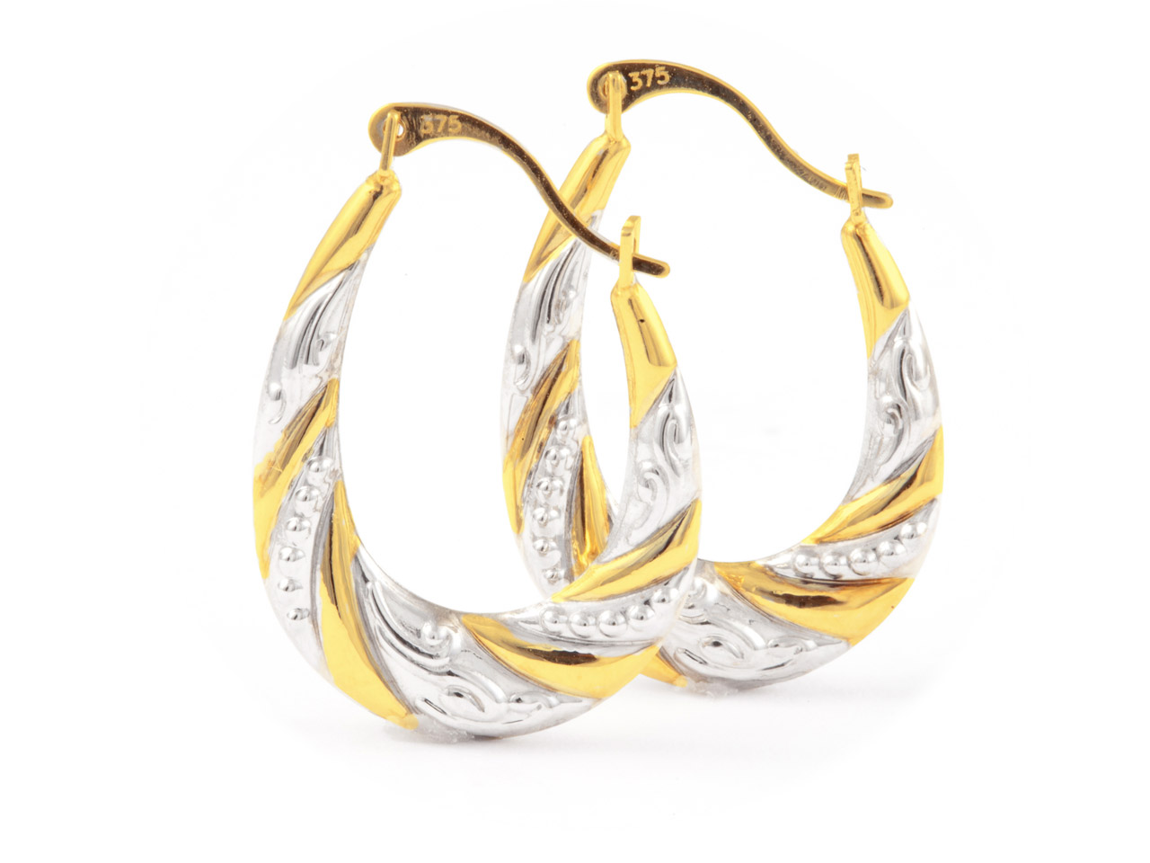 9ct Yellow Creole Style Earrings   With White Rhodium Plate