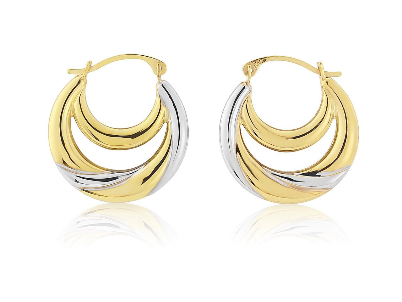 9ct Yellow Double Creole Earrings  With White Rhodium Plate