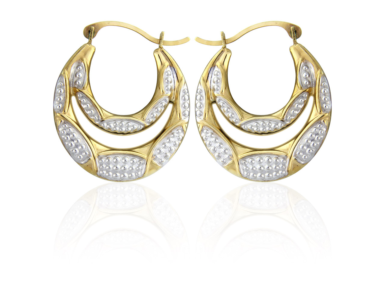 9ct Yellow Double Creole Earrings  With Beaded White Rhodium Plate