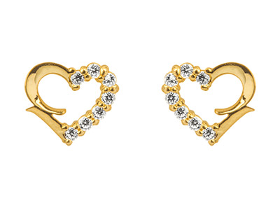 9ct Yellow Gold Heart Outline Stud Earrings Half Set With             Cubic Zirconia