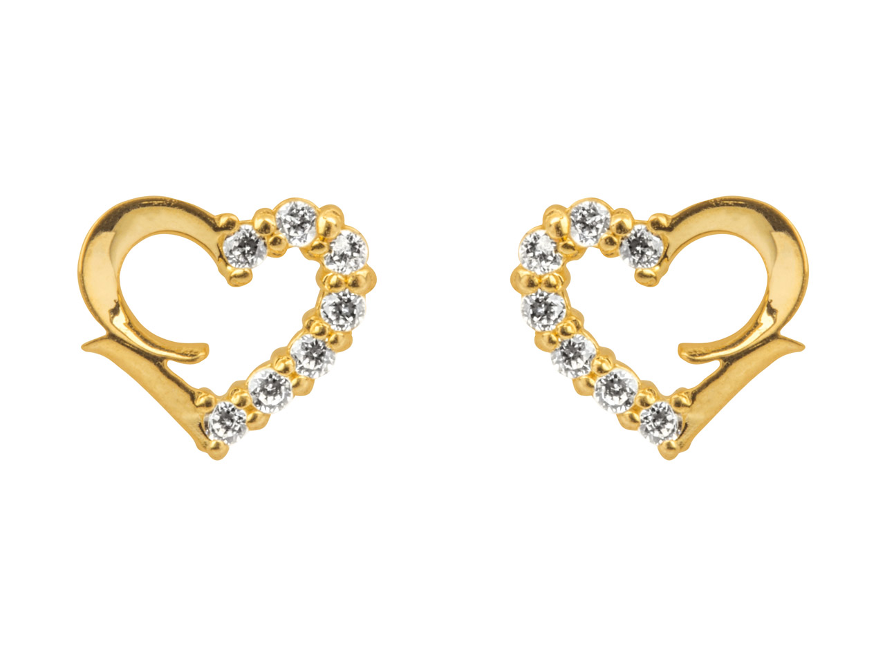 9ct Yellow Heart Outline Stud      Earrings Half Set With             Cubic Zirconia