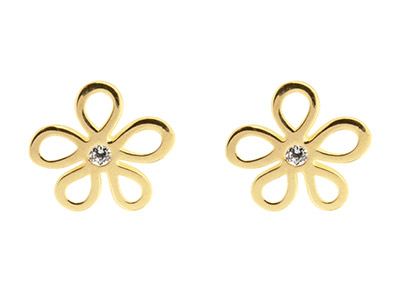 9ct Yellow Gold Flower Outline Stud Earrings Set With Cubic Zirconia