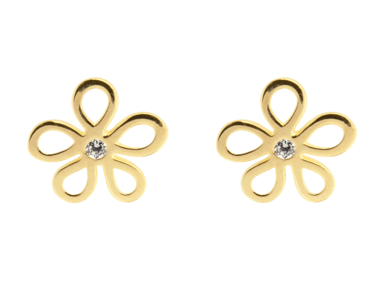 9ct Yellow Flower Outline Stud     Earrings Set With Cubic Zirconia