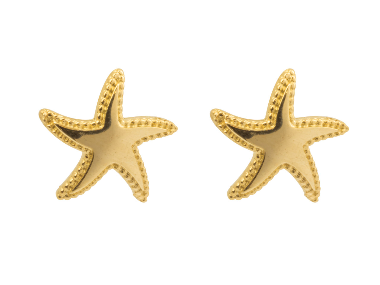 9ct Yellow Plain Star Stud Earrings