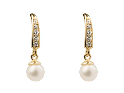 9ct Yellow Drop Earrings With 4mm  Fresh Water Pearl And              Cubic Zirconia