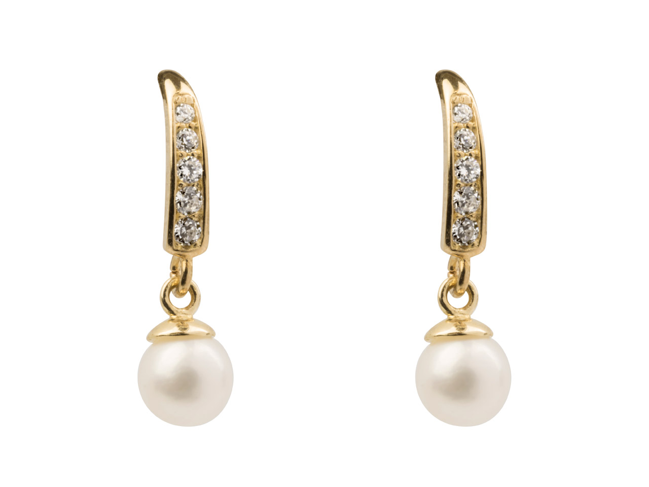 9ct Yellow Gold Drop Earrings With 4mm Fresh Water Pearl And          Cubic Zirconia