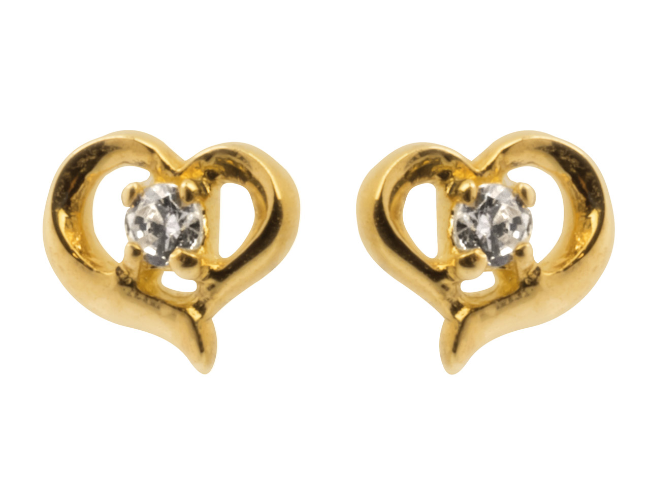 9ct Yellow Heart Outline Stud      Earrings Set With Cubic Zirconia