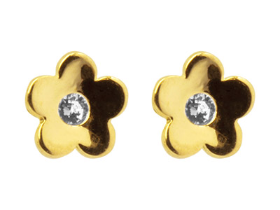 9ct Yellow Gold Flower Stud        Earrings Set With Cubic Zirconia