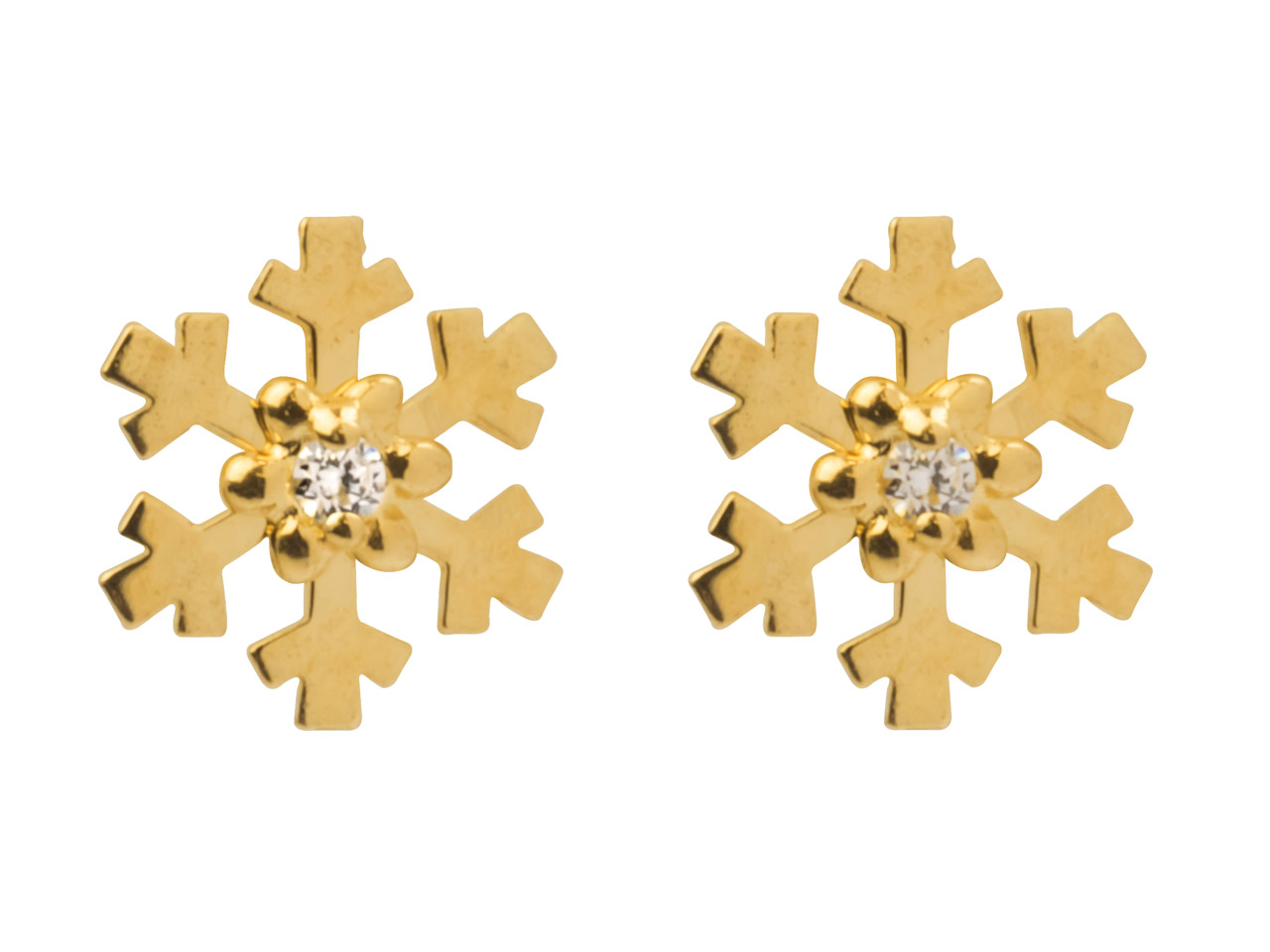 9ct Yellow Gold Snowflake Stud Earrings Set With Cubic Zirconia