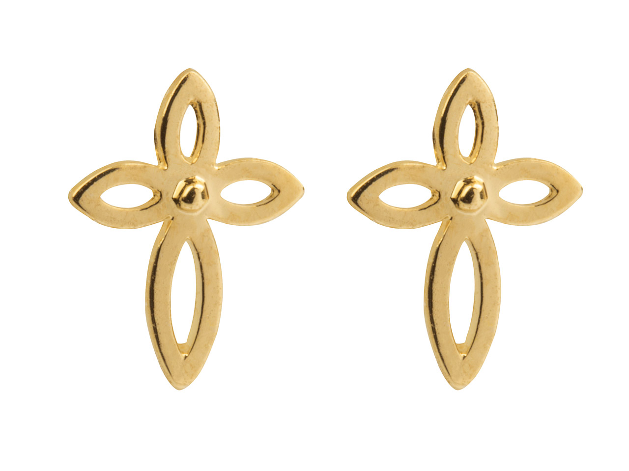 9ct Yellow Gold Cross Outline Stud Earrings