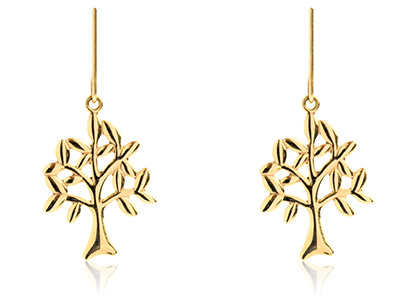 9ct-Yellow-Tree-Of-Life-Drop-------Ea...