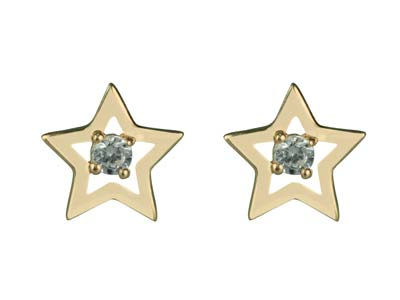 9ct Yellow Gold Cubic Zirconia Star Stud Earrings
