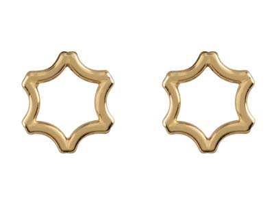 9ct Yellow Gold Star Outline Stud  Earrings