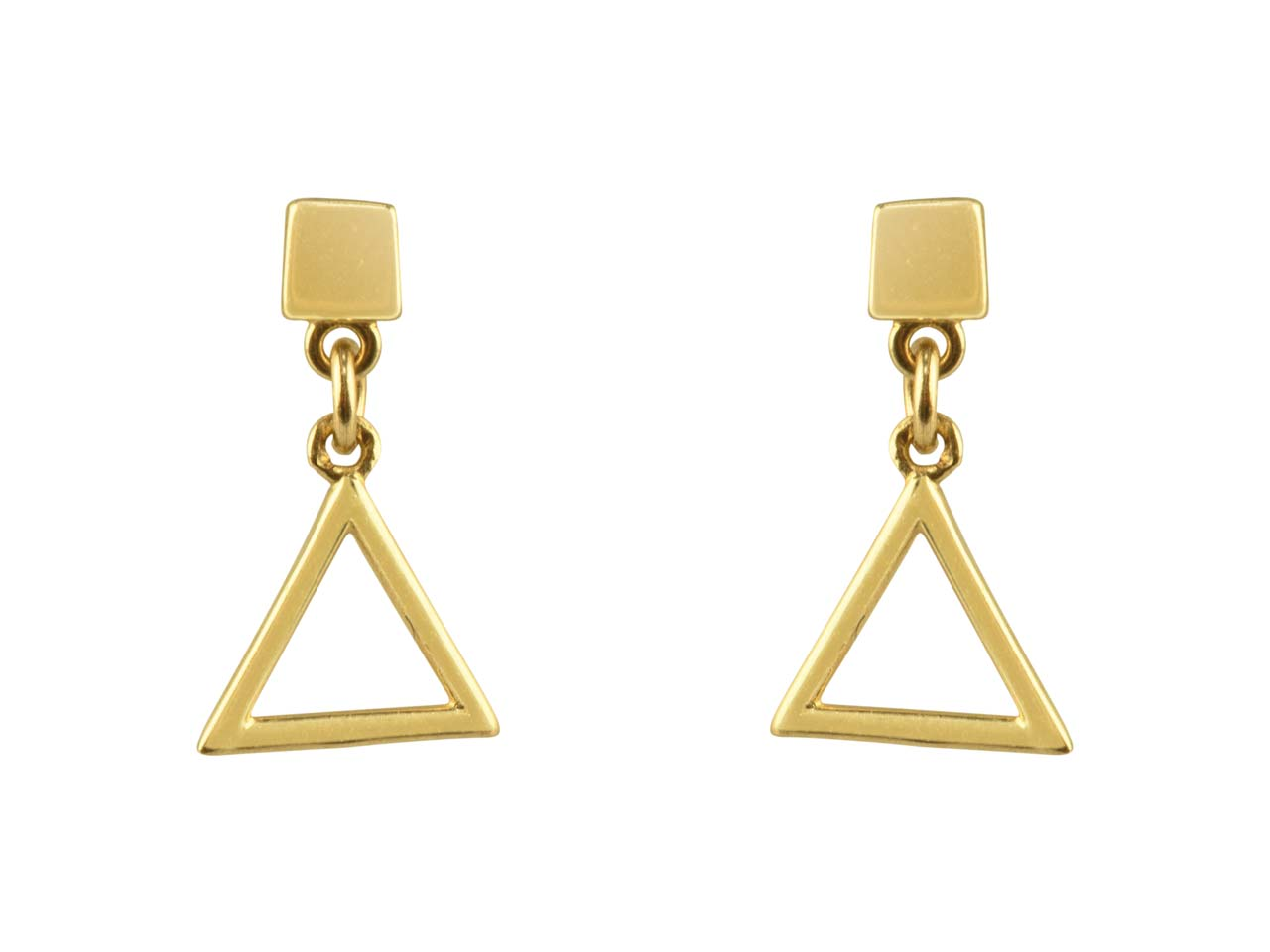 9ct Yellow Gold Triangle Outline   Drop Stud Earrings