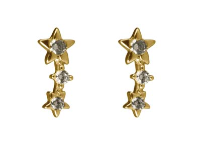 9ct-Yellow-Gold-Triple-Star--------Cu...