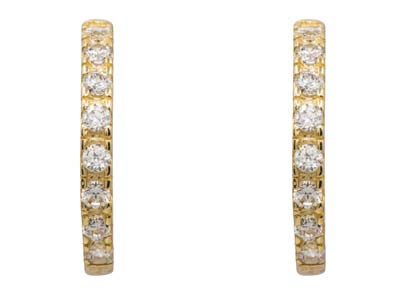 9ct Yellow Gold Hoop Earrings Set  With Cubic Zirconia