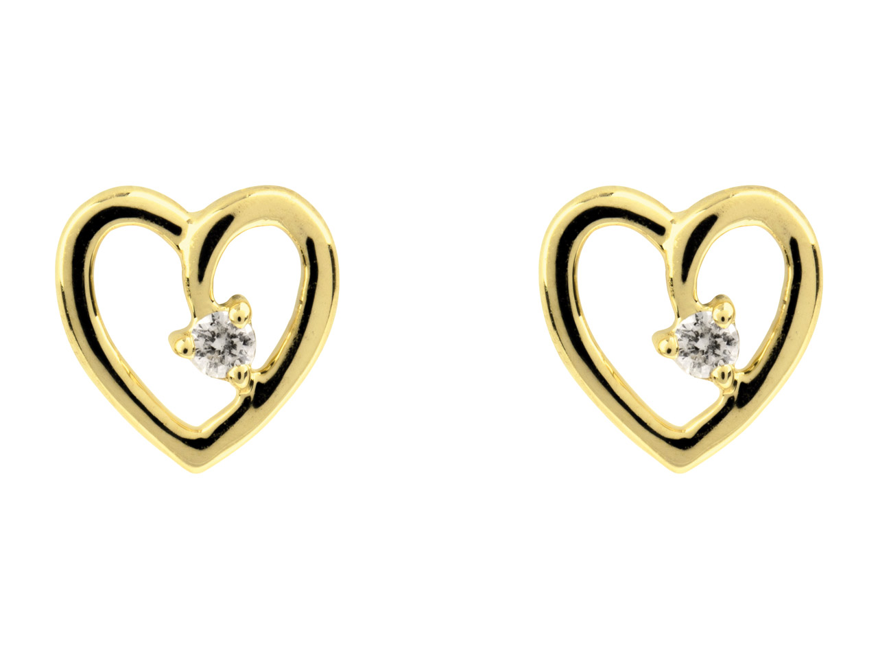 9ct Yellow Heart Earring With      Diamonds, 0.03cts