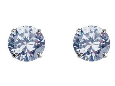 9ct White Gold 7mm Round           Cubic Zirconia Basket Set Studs,   Pair