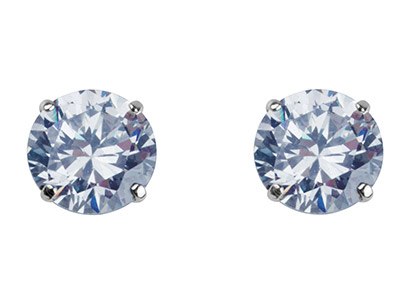 9ct White Gold 8mm Round           Cubic Zirconia Stud Earring