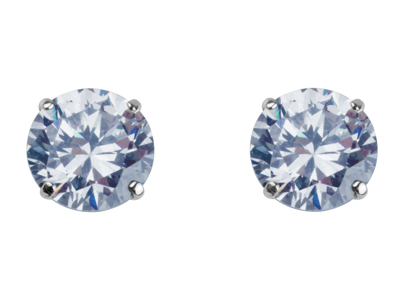 9ct White 8mm Round Cubic Zirconia Stud Earring