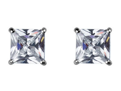 9ct White Gold 6mm Square          Cubic Zirconia Basket Studs