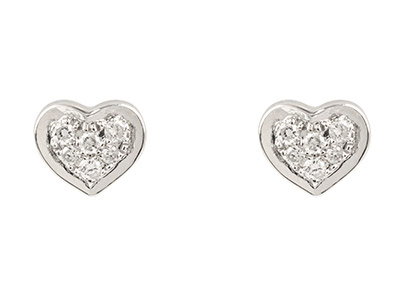 9ct-White-Heart-Stud-Earring-With--Pa...
