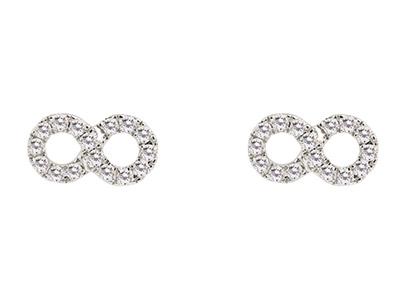 9ct-White-Infinity-Earring,-Diamond-S...