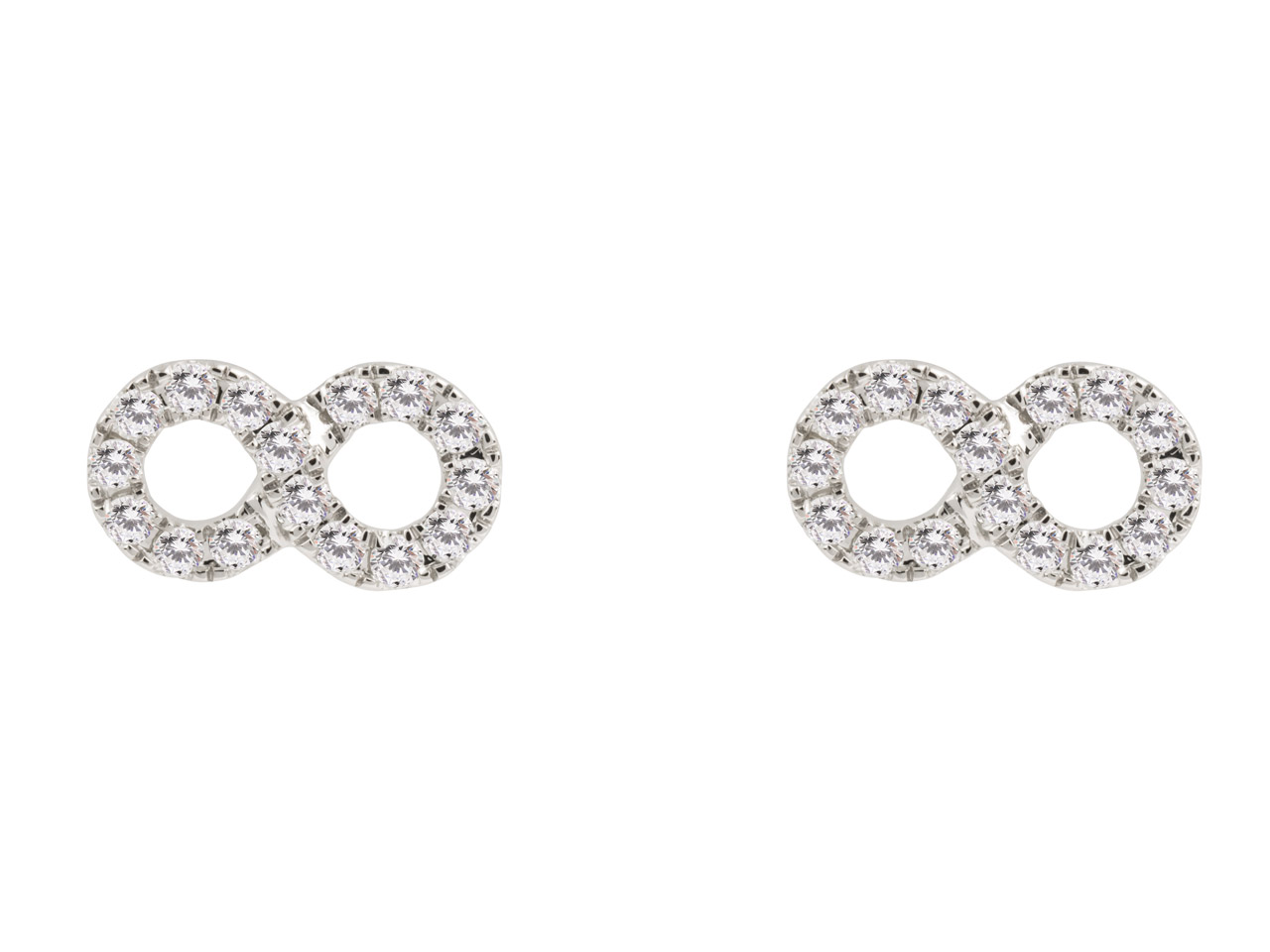 9ct White Infinity Earring, Diamond Set, 0.20cts
