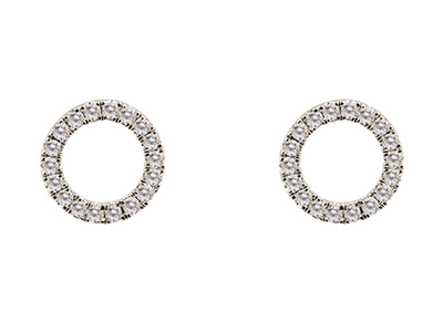 9ct-White-Circle-Outline-Earring,--Di...