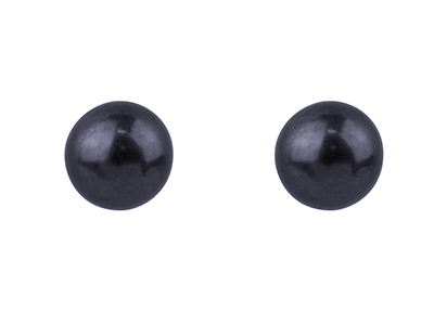 Silver 4.5mm Round Black Pearl Studs Pair