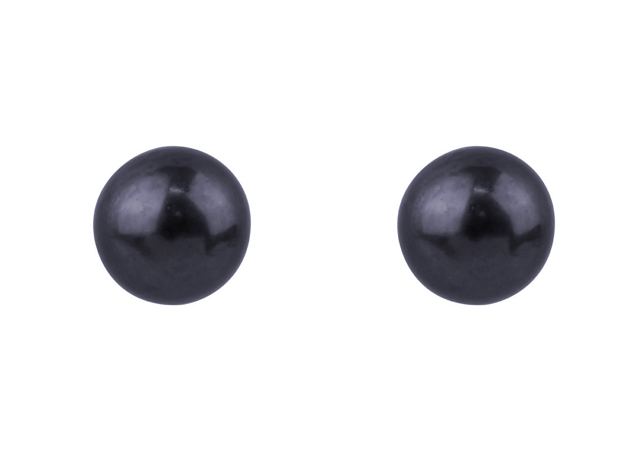 Sterling Silver 4.5mm Round Black  Pearl Studs Pair