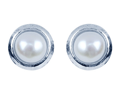Silver White Freshwater Button Pearl Earrings